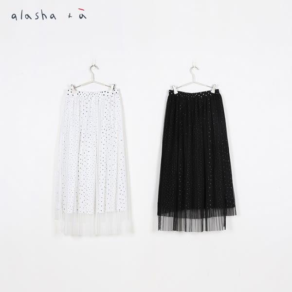a la sha+a 大小點印花多層百褶紗裙