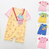 連身衣 兔裝 爬服 轉印卡通圖樣 肩扣設計 男女童短袖連身衣 五款 寶貝童衣