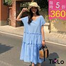 連身裙-Tirlo-寬鬆V領短袖蛋糕洋裝...