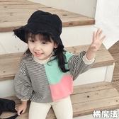 條紋拼接色塊長袖上衣 薄長袖  橘魔法 Baby magic 現貨 女童