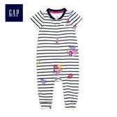 Gap女嬰兒 童趣印花拉鏈短袖包屁衣 468229-象牙白