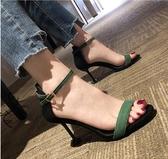 高跟鞋-新款黑色露趾一字帶扣細跟涼鞋女仙女風夏細帶百搭高跟鞋 花間公主
