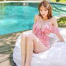荷葉邊 深V 爆乳 交叉裝飾設計 純色 二件式 集中美胸型 鋼圈 高腰 粉紅 比基尼 泳衣