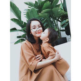 母女裙 辰辰媽嬰童裝 夏季嬰兒親子裝母女裝南瓜色連身裙洋氣柔軟時裝料【韓國時尚週】