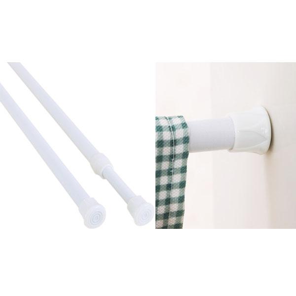 30-50cm旋轉型 彈簧式伸縮桿 鐵製白漆 門簾桿  簡易安裝 窗簾桿 浴簾桿 曬衣桿【SV6780】BO雜貨