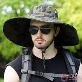 遮陽帽男夏季防曬帽戶外迷彩漁夫太陽帽大檐男士防紫外線釣魚帽子