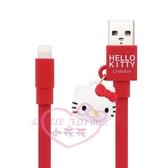 ♥小花花日本精品♥hello kitty凱蒂貓公仔吊飾傳輸線紅色充電線Apple Lightning 00420709