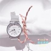 女士手錶 設計感輕熟風小錶盤裝飾清新鍊條女士銀色手錶