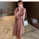 連身裙.韓版素色小高領長袖針織洋裝.白鳥麗子