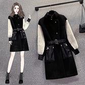 外套 風衣女L-5XL大碼外套女冬季皮毛一體中長搭配腰帶兩穿大衣女M031韓衣裳