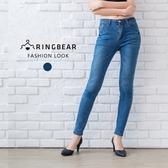 牛仔褲--韓版時尚鬼爪貓鬚刷色造型後口袋繡線合身牛仔長褲(藍M-3L)-C100眼圈熊中大尺碼
