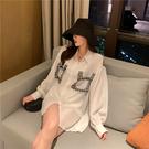 VK精品服飾 韓國風設計感拼接口袋撞色長袖上衣