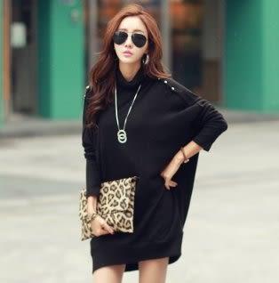 時尚長袖T連身裙S-XL/6006#新款寬鬆蝙蝠袖連身裙大碼女裝NE02胖胖唯依