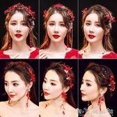 新娘紅色頭飾18新款髮飾仙美髮箍婚紗敬酒禮服中式結婚耳環配飾品 晴天時尚館