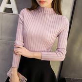 秋冬新款韓版短款半高領毛衣打底衫女長袖套頭修身顯瘦針織打底衫 9號潮人館