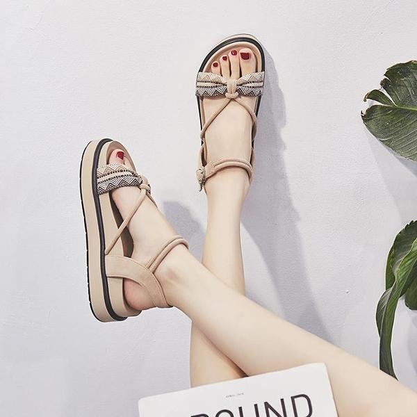 厚底涼鞋 夏季新款百搭仙女風平底學生網紅超火厚底羅馬涼鞋女ins潮