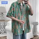 夏季男士花襯衫加肥加大碼寬鬆胖子港風潮流ins短袖襯衣新品休閑短袖襯衫