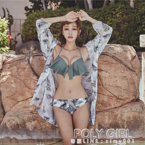 小清新泳衣女ins風仙女范比基尼三件套小胸鋼托聚攏性感沙灘溫泉
