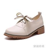鞋子女2019潮鞋新款中跟百搭秋季單鞋英倫小皮鞋女鞋秋鞋秋款皮鞋『蜜桃時尚』