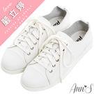 Ann'S休閒舒適全真牛皮超軟綁帶小白鞋...