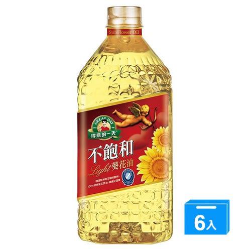 得意的一天不飽和葵花油2.4L*6【愛買】