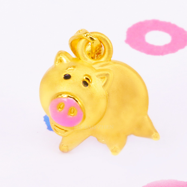 迪士尼金飾-火腿黃金墜子-火腿豬硬金墜(加贈金色鋼鍊)