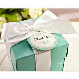 婚禮小物-歐美流行Tiffany經典藍喜糖盒(DIY含緞帶.小卡-不含內容物)-喜糖包裝盒/禮物盒 幸福朵朵