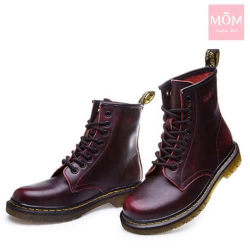歐美經典款8孔綁帶真皮馬丁靴 短靴 工程靴 擦色酒紅 *MOM*