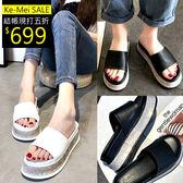 克妹Ke-Mei【ZT52734】BlingBling奢華水鑽心機厚底皮革露指涼鞋