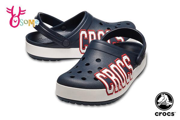 Crocs卡駱馳 洞洞鞋 成人男女款 經典LOGO造型 園丁鞋 防水布希鞋 A1711#深藍◆OSOME奧森鞋業