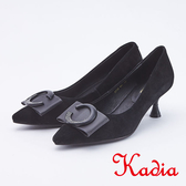 kadia . C 飾釦羊皮尖頭高跟鞋9515 93 黑色