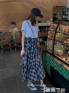 魚尾裙 2021春夏新款學院風復古不規則魚尾格子半身裙高腰中長款蛋糕裙女 【99免運】