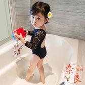 中大女童泳裝小童泳衣游泳衣連體泳衣黑色蕾絲【奈良優品】