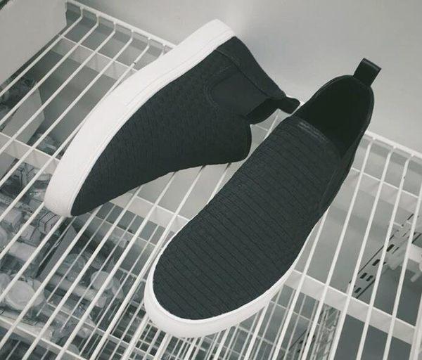 時尚街頭編織無綁帶高幫一腳蹬懶人鞋 休閒鞋 板鞋