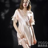 冰絲睡衣 新款睡衣女夏睡裙絲綢短袖冰絲連衣裙蕾絲家居服大碼睡衣女200斤 618大促銷