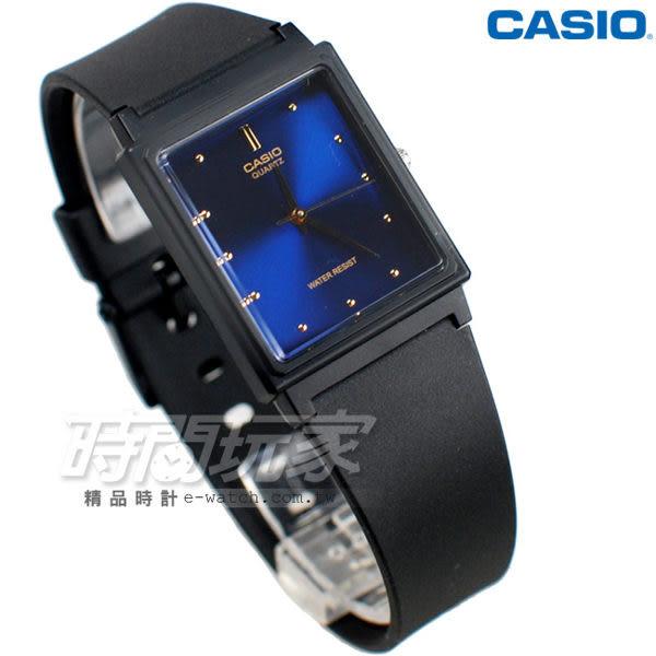 CASIO卡西歐 MQ-38-2A 撞色簡約方錶 橡膠錶帶 黑x藍色 MQ-38-2ADF 防水手錶 指針錶 兒童 女錶