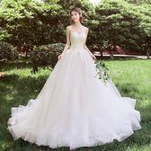 婚紗新款簡約禮服夢幻公主新娘拖尾蘇州婚紗一條街赫本輕森系【全館滿一元八五折】