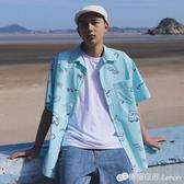夏威夷白色襯衫男短袖夏季海灘寬鬆休閒印花襯衣純棉 檸檬衣舍