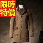 毛呢外套-羊毛帥氣秋冬短版男風衣大衣62n43【巴黎精品】