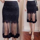 網紗半身裙夏女新款高腰網紗包裙夏季一步裙黑色短裙春 秘密盒子