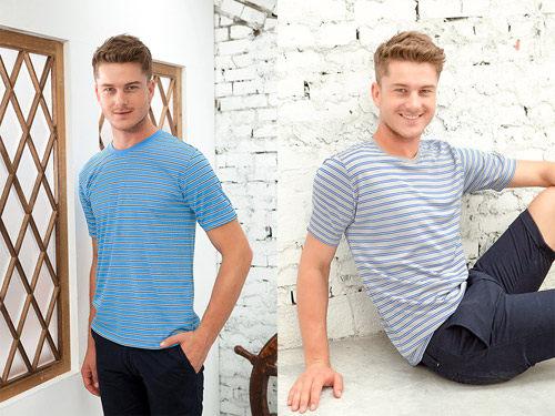 【HENIS】時尚型男條紋吸汗速乾彩色短袖衫1件組