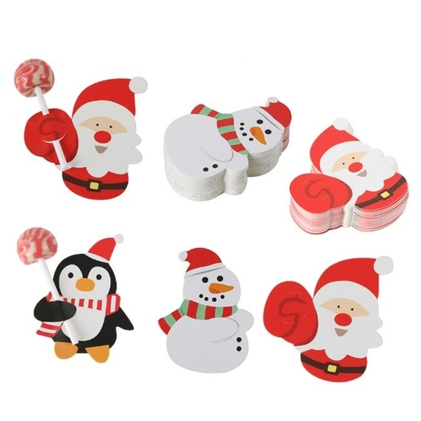 [拉拉百貨]聖誕節棒棒糖紙卡 聖誕老人 企鹅 雪人圖案裝飾纸卡 DIY裝飾卡片纸卡