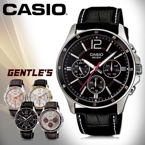 CASIO手錶專賣店 卡西歐  MTP-1374L-1A  男錶  三眼 礦物玻璃鏡面 不鏽鋼錶殼+IP電鍍 皮革錶帶