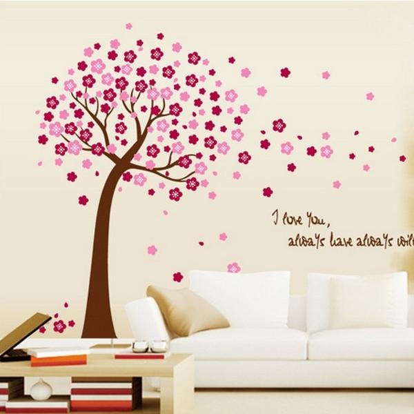 ►壁貼 桃花樹 移除PVC透明膜牆貼紙家裝貼 無痕壁貼 創意壁貼 牆貼紙【A3016】