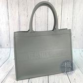 BRAND楓月 Christian Dior迪奧 灰色皮革 LOGO壓印 手提包 肩背包 BOOKTOTE 小號 托特包