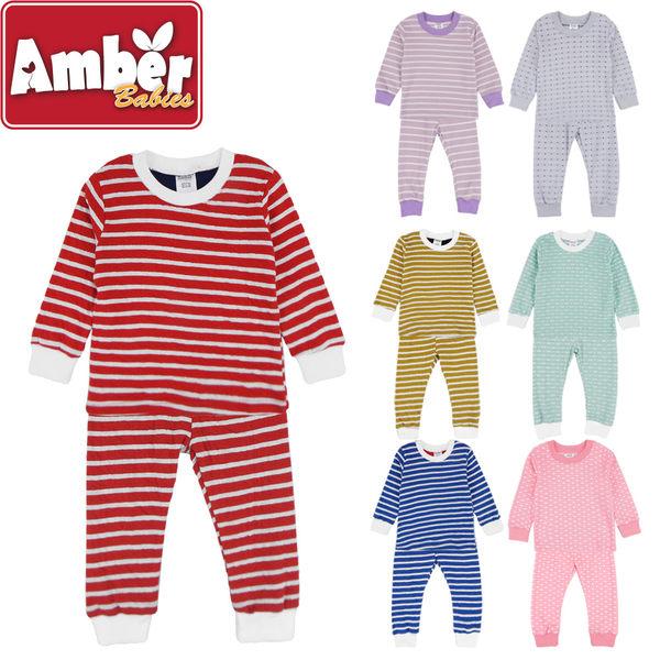 Amber 套裝 雙面立體針織 居家服 休閒套裝 男女童 兩件式套裝 水玉點點 經典條紋