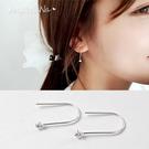 925純銀耳環。AngelNaNa  簡約U型水鑽鋯石耳勾-耳釘耳針耳飾銀飾 (SRA0511)