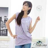 Victoria 滿版燙箔TEE-女-淺紫