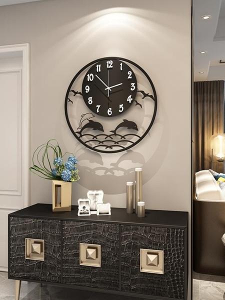 創意鐘表掛鐘客廳家用時尚靜音掛表現代簡約大氣個性鐵藝裝飾時鐘 NMS小明同學