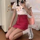 辣妹玫紅色牛仔半身裙女2021夏季新款高腰顯瘦A字裙包臀裙子短裙 果果輕時尚